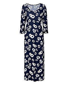 Black Floral Print Jersey Maxi Dress