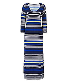 Navy/Lime Stripe Jersey Midi Dress 50in
