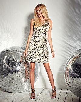 Metallic Pleat Skater Dress