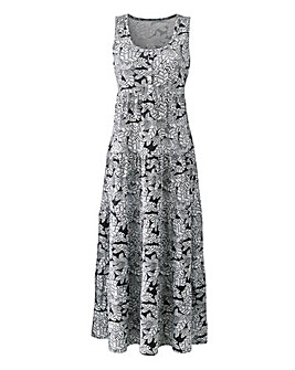 Black/Ivory Leaf Print Maxi Dress