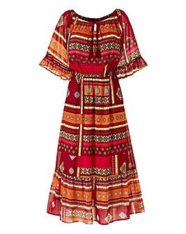 Tile Print Boho Midi Dress