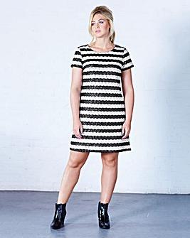 Striped Sequin Short-Sleeve Shift Dress