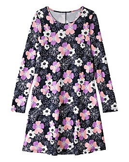 Retro Black Floral Print Swing Dress