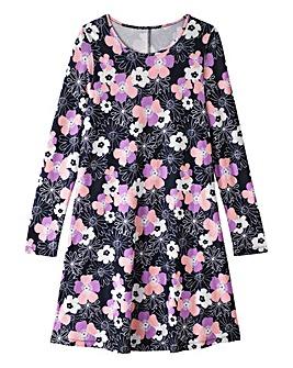 Retro Black Floral Print Swing Dress