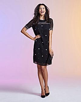 Embellished Short-Sleeve Shift Dress