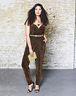 Glitter-Trim Strappy Jumpsuit