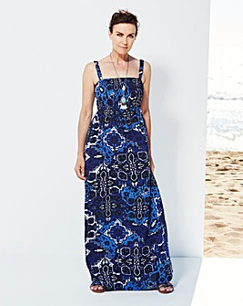 Navy Tile Print Shirred Maxi Dress