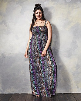 Animal Print Shirred Maxi Dress