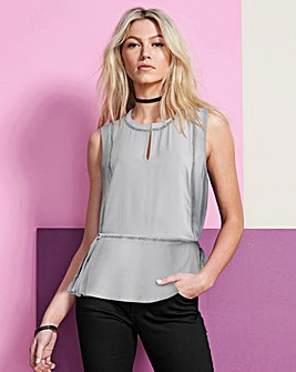 Grey Ladder Insert Top With Peplum Hem