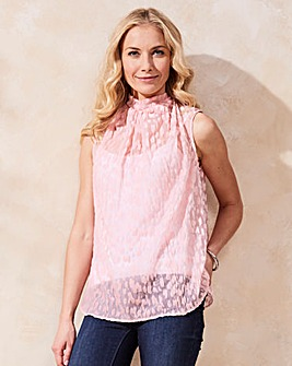 Pale Pink Velour Cowl Neck Blouse