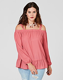 Rose Cold Shoulder Top with Frill Hem