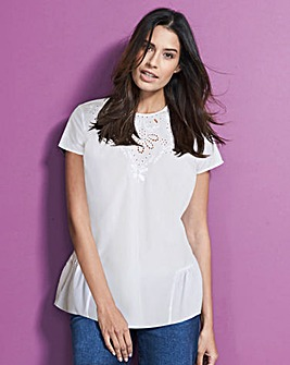 White Embroidered Blouse With Peplum Hem