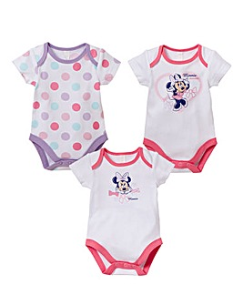 Minnie Mouse Pack of 3 Bodysuits