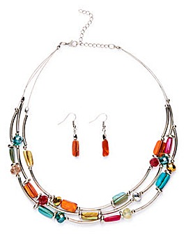 Shell Statement Necklace And Earring Set