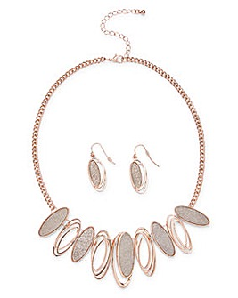 Glitter Necklace and Earrings Set