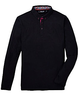 Black Label Trim Detail Long Sleeve Polo