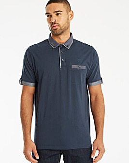 Black Label Chambray Trim Polo Long