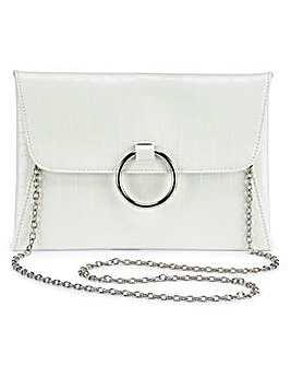 Sophie White Croc Ring Detail Clutch Bag