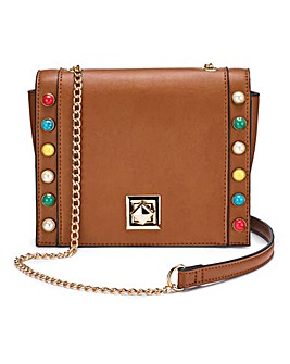 Tan Studded Shoulder Bag