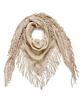 Stone Embroidered Mesh Scarf
