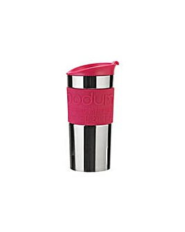 Stainless Steel and Pink Travel Mug.