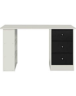 Kids Malibu 3 Drawer Desk Black on White