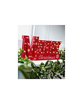 Window Light Merry Xmas Sign - Red