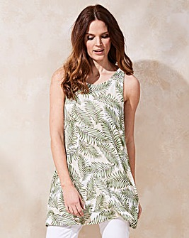 Leaf Print Sleeveless Swing Tunic