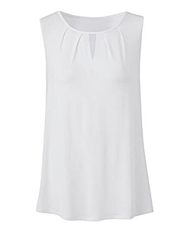 White Pleat Detail Vest