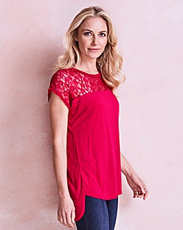 Hot Pink Lace Yoke Dip Back T-shirt