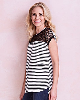 Stripe Lace Yoke Dip Back T-shirt