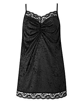 Black Lace Trim Velour Camisole