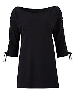 Black Lace Up Sleeve Bardot Top