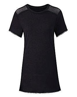 Black Mesh Trim Pom Pom Tshirt