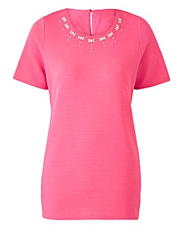Pink Embellished Textured Shell Top