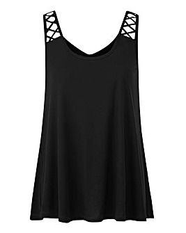 Black Lattice Strap Jersey Swing Vest