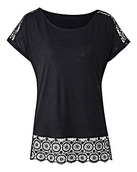 Black Crochet Trim T-shirt