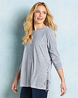 Grey Side Split Lace Up Tunic