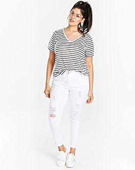 Stripe Linen Mix V-neck T-shirt