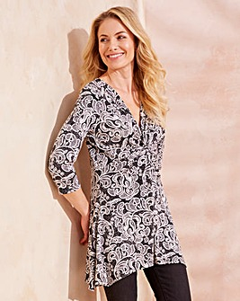 Black Print Twist Knot Jersey Tunic