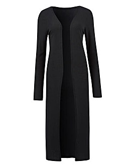 Black Longline Rib Jersey Cardigan