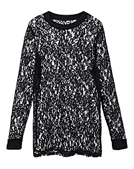 Black Round Neck Long Sleeve Lace Top