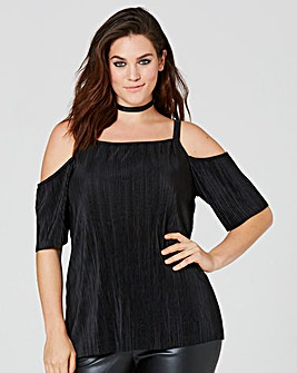 Black Cold Shoulder Plisse Top