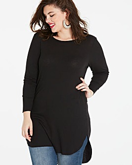 Black Scoop Dip Back Rib Tunic