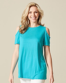 Turquoise Cold Shoulder T-shirt