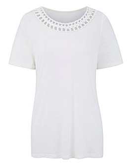 Ivory Short Sleeve Plait Trim Top