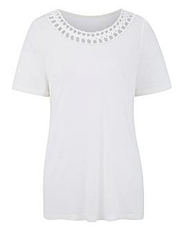 Ivory Short Sleeve Plait Trim Top