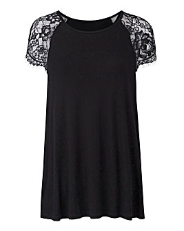 Black Lace Sleeve Swing Top