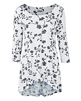 White Floral Dip Back Jersey Top