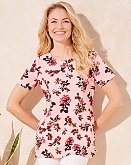 Pink Floral Textured Shell Top
